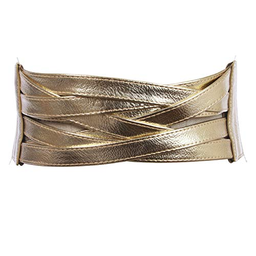 4' Women's High Waist Non Leather Fashion Wide Braided Stretch Belt, Gold | s/m: 30'- 33'