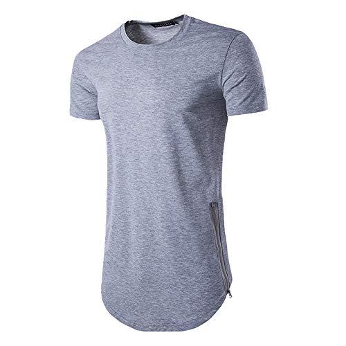 NOBRAND - Camiseta de verano personalizada con doble cremallera y cuello redondo para hombre Gris gris XXL