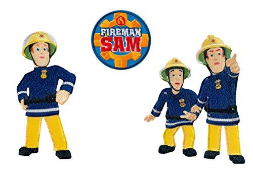 Mono-Quick 301 Feuerwehrmann Sam, 3er Set Bügelbilder Feuerwehr,Kinder,Aufbügler,Aufnäher,Patches,Flicken,Bilder zum Aufbügeln, Polyester, Mehrfarbig, 8.5x4cm, 3