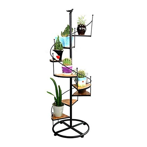 ZhuFengshop Soporte para Plantas Marco de la flor del metal Balcón Planta soporte de madera sólida de múltiples capas for suelo de Rotación decorativo estante de exhibición Estante de exhibición del s