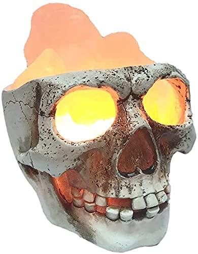JLKDF Lámpara de Calavera, Lámpara de Sal del Himalaya, Tecnología de impresión 3D, Lámpara de Mesa LED Lámpara de Noche, 3W-Luz cálida-3000K-Resina, Diseño de Terror, Regalos de Hallowe