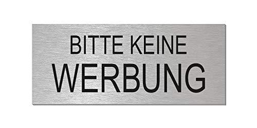 Briefkastenschild - Bitte Keine Werbung | Aluminium Edelstahlschilder-Optik | vollflächig selbstklebend | 60x25 mm | Nr.29013-S