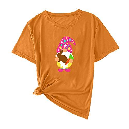YANFANG Tops Camiseta Moda Casual Mujer Adultos Pascua Manga Corta Impreso O-Cuello Camiseta de Color sólido con Estampado Unisex adolenscente con Buen cálido