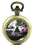 Color rosa Floyd lado oscuro de la luna diseño reloj de bolsillo de cuarzo collar–efecto de bronce antiguo–caja de regalo con libre batería de repuesto