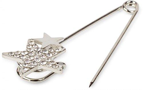 styleBREAKER sieraden naald voor poncho's, sjaals of sjaals, strass ster applicatie, veiligheidsspeld, sieraden naald, dames 05050021