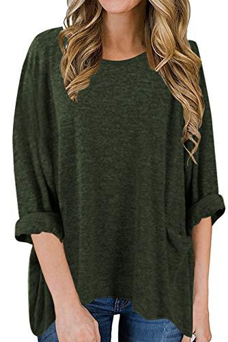 x8jdieu3 Rundhalsausschnitt Einfarbiges T-Shirt Langarm Lose UnregelmäßIge Patchwork Patchwork Sweater Shirt Top