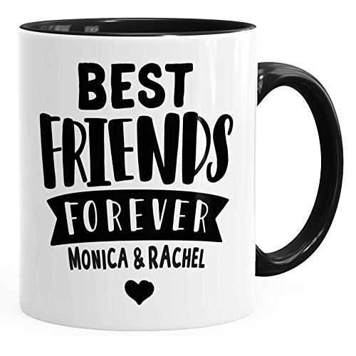 SpecialMe® Best Friends Forever BFF Beste Freundin personalisierte Kaffee-Tasse mit Namen persönliches Geschenk Inner-Schwarz unisize