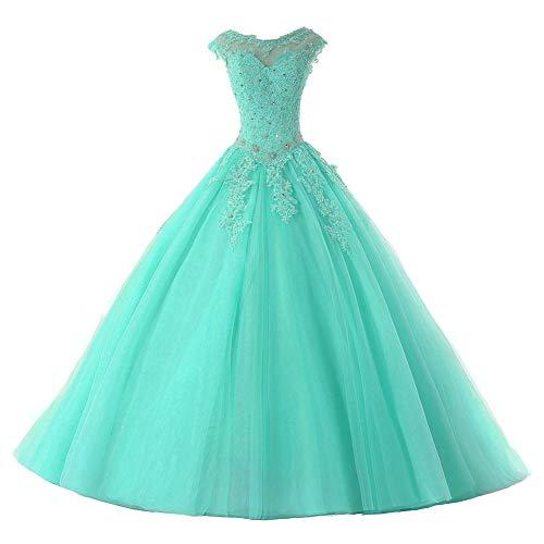 Ballkleider Lang Prinzessin Quinceanera Kleider Tülle Brautkleid Abendkleider A-Linie Partykleid Festkleider Türkis 38