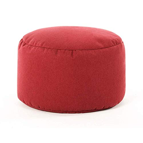 JSMY Reposapiés Otomanos,Sofá Multiusos Taburete Redondo Panel a Base de Madera Desmontable Fácil de Limpiar,Múltiples Colores(Color:Rojo)