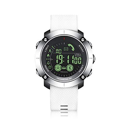 MJAD Outdoor-sporthorloge, intelligent waterdicht horloge, gratis opladen, lange standby-tijd, sporttracking, stappenteller, afstandsbediening, compatibel met iOS Android Bluetooth, size, zilver