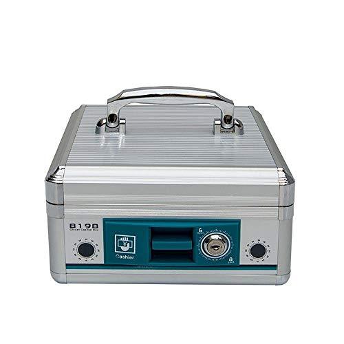 Hucha Portable Cash Box Caja registradora de aleación de Aluminio de Bloqueo multifunción Cash Box como un Regalo de cumpleaños para los niños (Color : Silver, Size : 205X210X115mm)