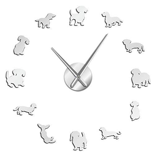ZHAOCHENBO Reloj De Pared,Teckel Bricolaje Arte De Pared Plata Wiener-Dog Perrito Mascota Gigante Sin Cerco Reloj De Pared con Efecto Espejo Perro Salchicha Grande Decoración Watch,37Pulg.