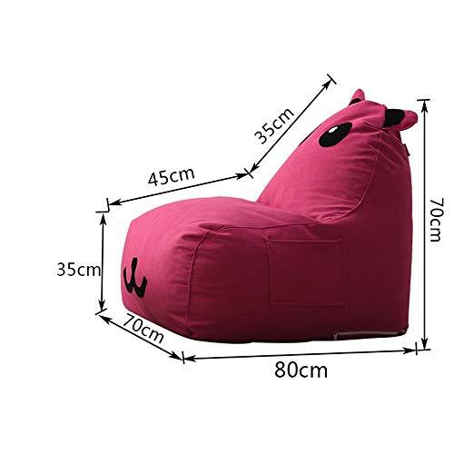 ZYLE Bolso de alubias for niños Lazy Couch Tatami Único Sofá de Tela Lindo Reclinable Mini Desmontable y Lavable Diseño 70 × 80 × 70 cm (Color : Rose Red)