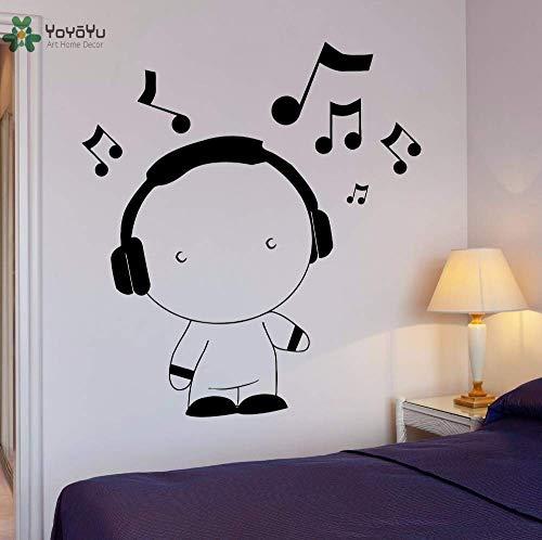 Muursticker voor kinderkamer, Vinyl muursticker, jongens, koptelefoon, muziek, kunstwerk, muurdecoratie, wanddecoratie, 42 x 46 cm