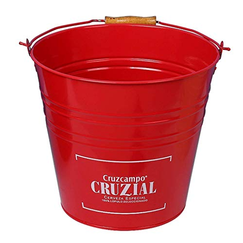 Barra KTV Duradera de Acero Inoxidable Europeo a Prueba de óxido Barriles de champán Barril de Hierro Cerveza Cubo de Hielo Cubo de Almacenamiento doméstico Bote de Basura Grande a (Color: Rojo)