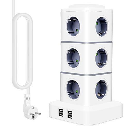 IDEALCRAFT Regleta Enchufes, Regleta Vertical Torre Enchufes de 12 Tomas Corrientes y 4 Rápida USB Tomas, Enchufes Multiples con Cable de 3M y Protección contra Sobrecargas, 2500W / 10A