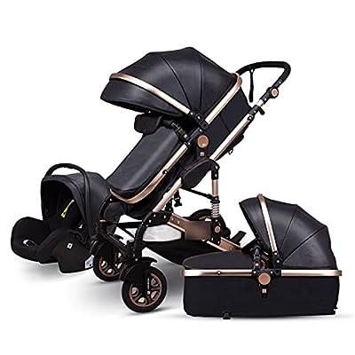 HZPXSB 3 en 1 Cochecito de bebé High Landscape Baby Stroller Cesta para Dormir Carro Europa 2 en 1 Pramo recién Nacido con Asiento de automóvil (Color : Black PU)
