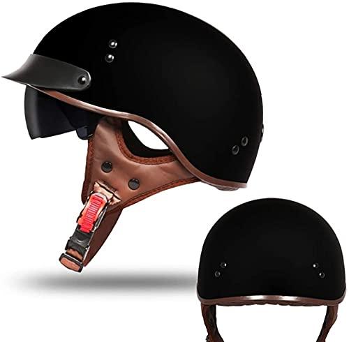 YUnZhonghe Half Casco Motocicleta Cara Abierta con protección UV Visera Solar Sun Sarme Hebilla Dot Aprobado Ciclismo Motocross Motocross Casco, Hombres Mujeres (57-63cm) (Color : C, Size : 2XL)