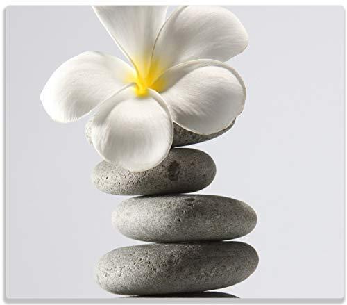 Herdabdeckplatte / Spitzschutz aus Glas, 1-teilig, 60x52cm, für Ceran- und Induktionsherde, Blume auf gestapelten Steinen