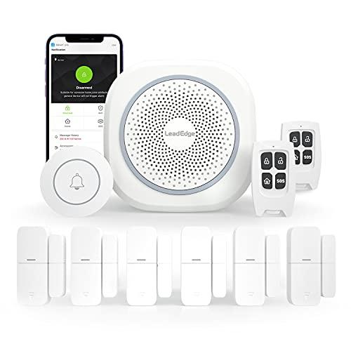 LeadEdge AS100 Alarmas para Casa WiFi,6 Sensores de Puertas y Ventanas, 2 Mandos a Distancia y 1 Timbre de Puerta, Funciona con Alexa,Wireless Kit de Sistemas Alarmas de Seguridad Hogar