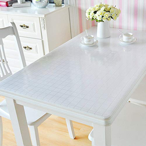 IHCIAIX tablecloth, Transparent Pvc Waterproof Tablecloth Table Cover Customizable Soft Glass Tablecloth rectangular Kitchen Table Oil Proof Mat,Plaid 1mm,80x120cm
