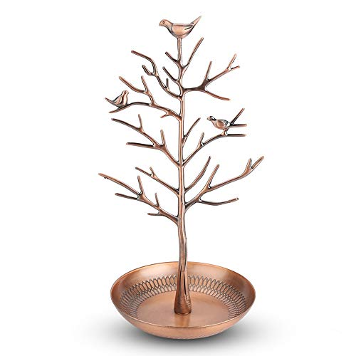 YCSD Jewellery Stand Earring Holder Ring Display Birds Tree Necklace Organizer(Antique Bronze)