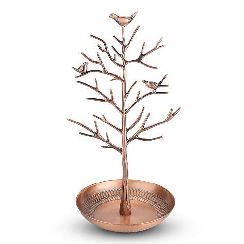 YCSD Soporte De Joyería Soporte para Pendientes Anillo De Exhibición Organizador De Collar De árbol De Pájaros (Bronce Antiguo)