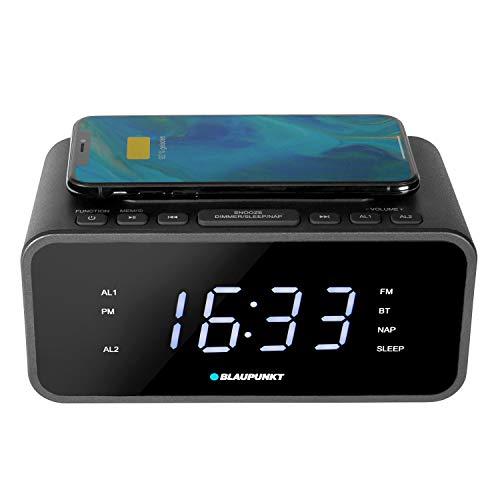 BLAUPUNKT CLR-B 120, digitaler Wecker mit Ladefunktion, Qi Ladestation, Dual Radiowecker, UKW PLL, Uhren-Radio, Wireless Charging, Snooze, Sleeptimer, Bluetooth, USB Ladefunktion, dimmbar, schwarz