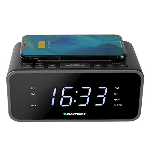 BLAUPUNKT CLR-B 120 Radiowecker mit Ladestation qi, Digital Uhren-Radio mit UKW PLL, Wireless Charging, dimmbar, Dual Alarm, Snooze, Sleeptimer, Kabelloses Laden, USB Ladefunktion, Bluetooth