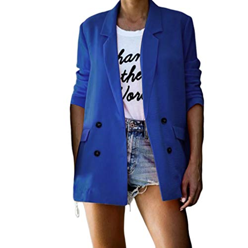 serliy😛Damen Blazer Elegant Cardigan Leicht Dünn Business Büro Jäckchen Einfarbig Casual Mantel Jacke Langarm Sakko Slim Fit Offnung Anzüge