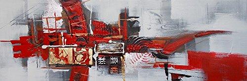 ETA-BL Tableau panoramique Gris et Rouge, Dimensions 50/150 cm, Peinture à l'huile sur Toile de Coton montée sur Un châssis en Bois. Tableau panoramique entièrement exécuté à la Main. Tableau signé.
