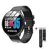 GuTe Bluetooth-Smartwatch, Gesundheits- und Fitness-Tracker, Herzfrequenz, Blutdruck-Aktivitäts-Uhr, Schlaf-Tracking, Anrufe, SMS-Benachrichtigung, Remote-Kamera für iOS Android (schwarz)