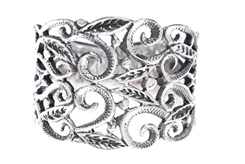 WINDALF Mittelalter-Ring MANJA 1.5 cm Zarte Elfen Statementring Ornamentik Bohemia Silberring Vintage Glücks-Ring Freundschaftsring 925 Sterlingsilber (Silber, 58 (18.5))