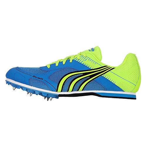 FJJLOVE Calzado de Atletismo Unisex Desgaste Resistente Picos de Campo traviesa Competencia Profesional Running Calzado de Entrenamiento Zapatillas de Deporte,Azul,39