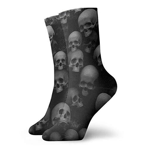 BJAMAJ Unisex Socken Totenkopf Print Interessante Polyester Crew Socken Erwachsene Socken Baumwolle