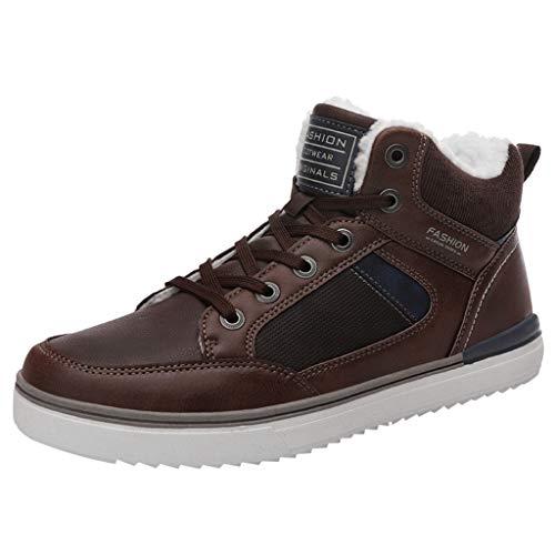 Zapatos de hombre JiaMeng-ZI Felpa Mantener Caliente Botas Invierno Antideslizante Botines con Cordones Zapatillas de Seguridad Trabajo, Calzado de Industrial y Deportiva Invierno Botas de Nieve