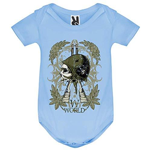 LookMyKase Body bébé - World War Symbol - Bébé Garçon - Bleu - 6MOIS