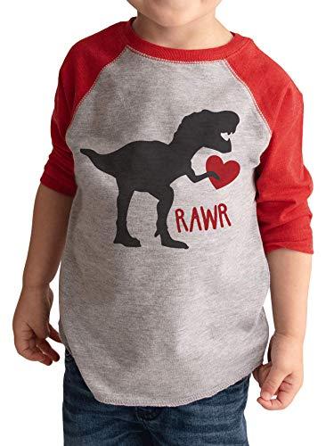 7 ate 9 Apparel Kids Dinosaur Happy Valentine's Day 3T Red Raglan