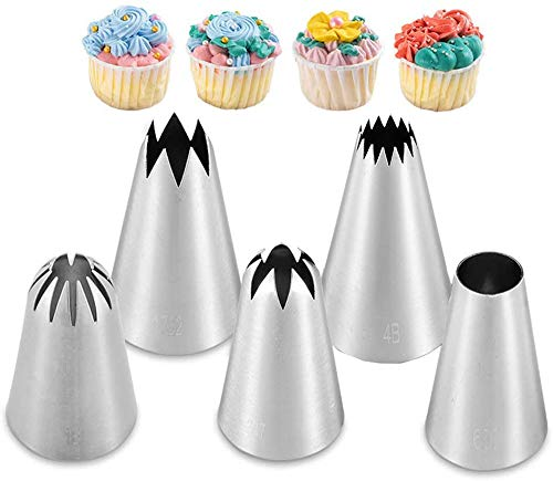 Large Piping Cakes Decoration Set Nozzles Tips Piping Kit for Pastry Cupcakes Cakes Cookies Decorating Stainless Steel Kitchen Gadgets Decor (5 pcs/Set)