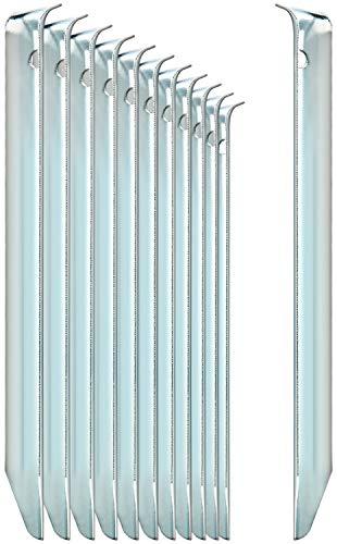 com-four® 12x Zelt-Heringe aus Stahl - halbrunde, robuste Erdnägel für Camping und Outdoor - ideal für normalen Boden