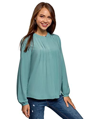 oodji Collection Mujer Blusa de Viscosa con Puntadas en el Pecho, Turquesa, ES 44 / XL