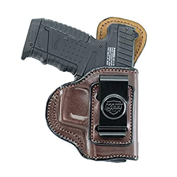 Maxx Carry IWB Leather Gun Holster Compatible with Glock 43 43X 9mm   Walther PPS PPS M2   Springfield XDS 3.3 Hellcat   S&W M&P 380 Shield EZ   Beretta APX Carry   Brown Right Hand Draw
