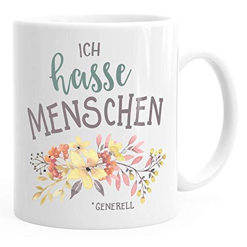 MoonWorks Kaffee-Tasse Ich Hasse Menschen Spruch Blumen Blumenranke Blüten bluming weiß Unisize
