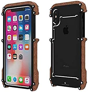 iPhone xs Max Wood Metal frame Case, Drop Protection Ultra Thin Aluminum Metal Cover Protective Case Shockproof Dropproof ...