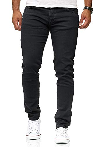 Red Bridge Herren Jeans Hose Slim-Fit Röhrenjeans Denim Colored Schwarz W36 L32