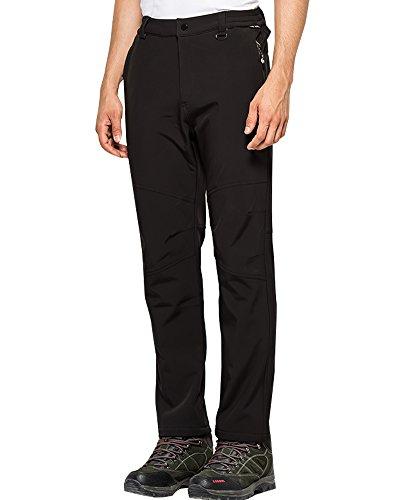 Jessie Kidden Men's Outdoor Windproof Waterproof Hiking Mountain Ski Pants, Soft Shell Fleece Lined Trousers #5088-Black,US 3XL 38