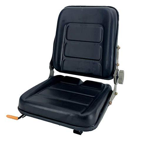 SUDEG Universal Gabelstaplersattel Traktor SEAT Federungssitz Deluxe Utility Rasenmähersitz mit 140° Verstellbarem Rückenwinkel | Schwarz passend für Traktor, Kompaktlader, Baggerlader Teleskoplader