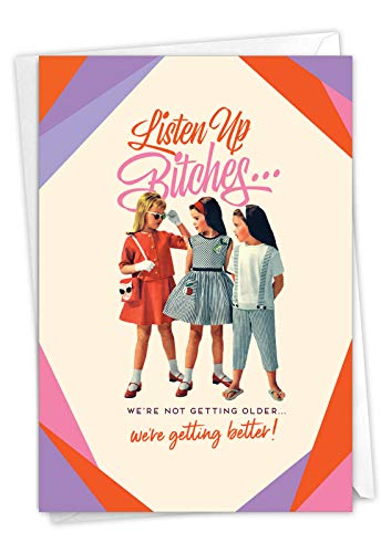 NobleWorks, Listen Up - Funny Retro Birthday Greeting Card with Envelope - Women's Joke, Adult Bday Stationery for Women C7026BDG