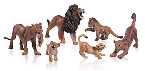 FLORMOON Animal Figures - 6pcs Realistic Lion Toy - Plastic Lions Action Model - Wild Animal Figures Educational Forest Farm Toys - Cupcake Topper Birthday for Boys Girls