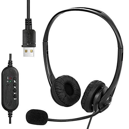 VOKY Headset PC,Gaming Headset,Headset USB mit Mikrofon,leichtes PC Headset Kabelgebundene Kopfhörer Business Headset mit Lautstärkeregler für Skype Webinar Telefon Callcenter Bürokonferenzen usw